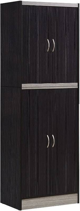 Hodedah 4 Door Kitchen Pantry with Four Shelves  Chocolate Grey