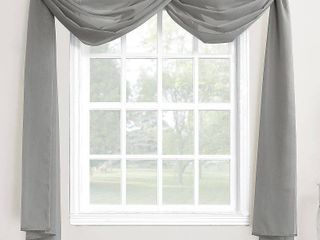 216 x59  Emily Sheer Voile Window Curtain Scarf Dark Gray   No  918