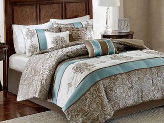 Madison Park lorraine Blue Jacquard 7 Piece Comforter Set Retail 100 92