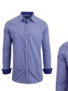 Galaxy by Harvic Men s long Sleeve Checkered Button Down Dress Shirts