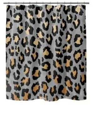 Silver Orchid Markus leopard Print Shower Curtain Retail 95 49