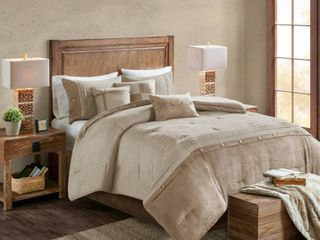 Madison Park Westbrook Faux Suede Tan Twin Bed Skirt  bed skirt only
