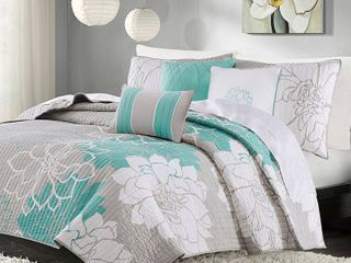 Madison Park Brianna Aqua Quilted Cotton Coverlet Set Retail 94 42