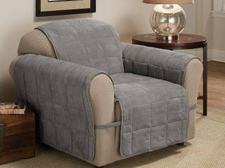 Innovative Textile Solutions 1 Piece Ultimate Faux Suede Chair Furniture Cover Slipcover  Grey