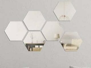 Walplus Minimalist Hexagon Acrylic Wall Mirror Tiles DIY Home Decor