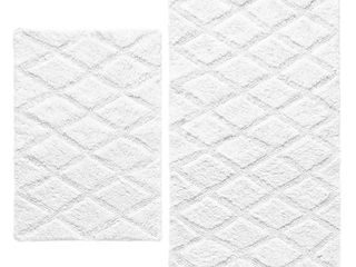 Vera Wang Tufted Diamond 2 Piece Reversible Bath Rug Set