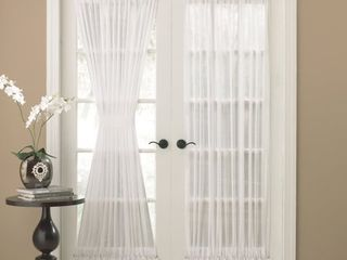 Semi Sheer 72 inch Tailored Door Curtain Panel with Tieback   50 x 72   50 x 72