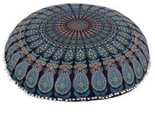 Blue Throw Decorative Floor Pillow Cushion Cover Mandala