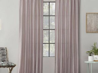 84 x52  Washed Cotton Twisted Tab light Filtering Curtain Panel Pink   Archaeo