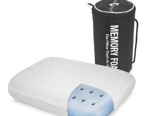 On the Go Travel Memory Foam Pillow   White