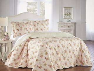 Waverly Queen 3pc Bedspread Set Rose