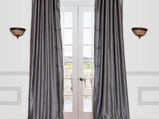Half Price Drapes Vintage Textured Faux Dupioni Rod Pocket Curtain Panel
