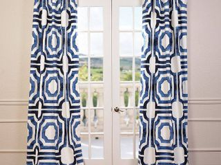 half price drapes prtw d23b 96 mecca printed cotton curtain  50 x 96  blue