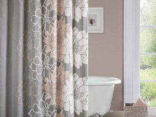 Jane Floral Cotton Shower Curtain Gray Blush