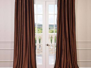 Exclusive Fabrics Faux Silk Taffeta 96 inch Blackout Curtain Panel