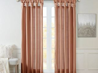 84 x50  lillian Twisted Tab lined light Filtering Curtain Panel Orange