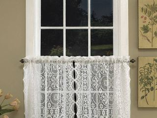 Hopewell lace White 36  kitchen curtain Tier