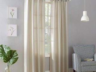 95 x40  Joshua Casual Textured SemiSheer Tab Top Curtain Panel Off White   No  918