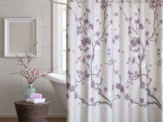 Sakura Cotton Printed Shower Curtain   Purple