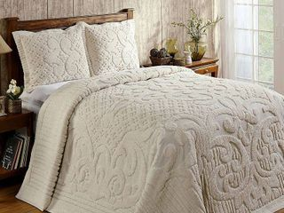 Better Trends Ashton Collection in Medallion Design 100  Cotton Tufted Chenille Bedspread or Sham Separates Retail 111 98