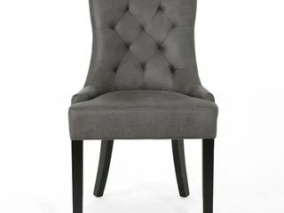 Hayden Contemporary Tufted Microfiber Dining Chair  only 1  missing hardware  by Christopher Knight Home  Slate   Espresso