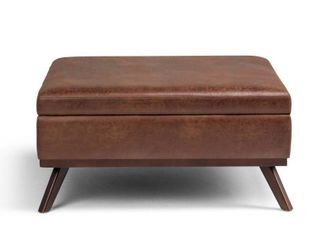 WYNDENHAll Mid Century Modern Square Table Ottoman  36  x 36  x 19 1   Distressed Brown Retail 289 99