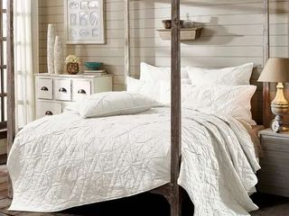 VHC Brands Farmhouse Bedding Aubree Hand Quilted Machine Stitched Smoke Queen Quilt Retail 149 99