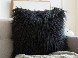 Faux Fur Shaggy Chic Mongolian Inspired Textured Decorative Throw Pillow Cover  cover only