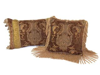 Sherry Kline China Art Brown luxury Pillows  Set of 2  Retail 103 50