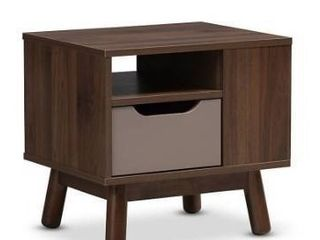 Britta Midcentury Modern Walnut And Two Tone Finished Wood Nightstand Brown Gray   Baxton Studio