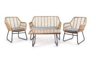 Gray wicker   3 piece Outdoor Patio Chat Chair Wicker Conversation Set with Cushion  no table