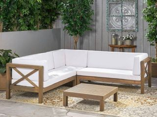 BOX 1 of 2 Brava Outdoor Wood Sectional 1 side with Cushions by Christopher Knight Home