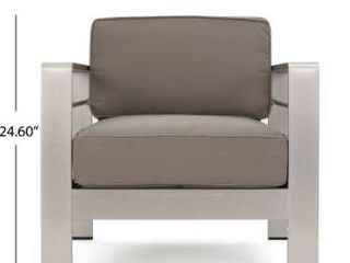 Dark grey metal patio arm chair with grey cushion