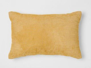 Set of 2   Citron Perforated leather lumbar Pillow   Project 62   Nate Berkus  Yellow