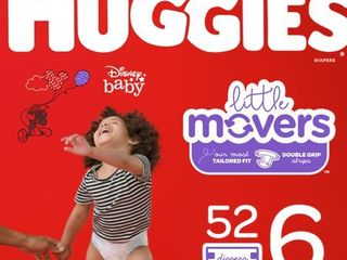 HUGGIES little Movers Diapers  Size 6  52 Count