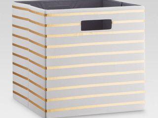 13  Fabric Cube Storage Bin White Gold Stripe   Threshold   see photos small mark