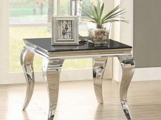Coaster Furniture Dark Glass Top End Table   Chrome