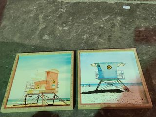 Set of 2 Beach Pictures with Frame