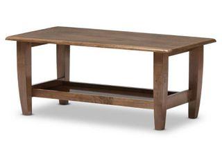Pierce Mid   Century Modern Finished Coffee Table   Walnut Brown   Baxton Studio