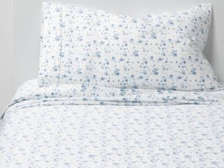 Twin Twin Xl 400 Thread Count Printed Pattern Performance Sheet Set Blue Floral   Threshold