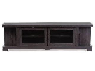 Wholesale Interiors TV838076 Embosse CTN2 70 in  Viveka Wood TV Cabinet with 2 Glass Doors   2 Doors