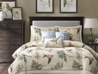 Madison Park Pierce 7 piece Cotton Twill Printed Comforter Set  Retail 113 61