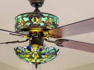 Copper Grove Guasipati 52 inch Tiffany style Magna Carta Ceiling Fan   52 l x 52 W x 16 5   52 l x 52 W x 16 5  Retail 297 49