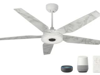 Explorer 52  Smart Ceiling Fan with Remote  light Kit IncludedIJWorks with Google Assistant and Amazon Alexa   White
