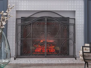 As Is   Pendleton Modern Three Panel Fireplace screen with Door by Christopher Knight Home   31 75  H x 43 25  W x 1 25  D 21 50  D   Black Silver Finish