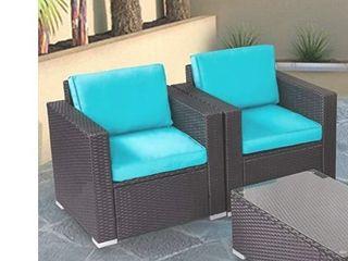 Kinbor 2 PCS Chairs Only Rattan Patio Outdoor Furniture Set Garden Black