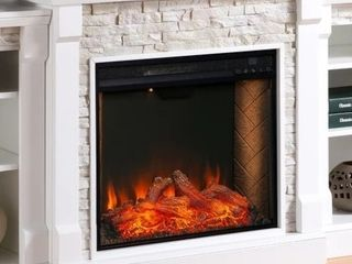 Copper Grove Gordon Alexa Enabled Fireplace   White   fireplace works powers on