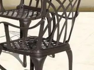 NUU GARDEN Cast Aluminum Patio Set of 2 Dining Chair for Yard Porch Balcony  Retail 538 99