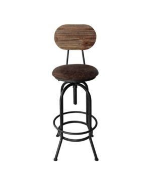 Today s Mentality Adele Industrial Adjustable Barstool in Brushed with Fabric Seat and Rustic Pine Back