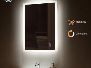 ExBrite lED Bathroom Mirror  36 x 36 inch  Anti Fog  Dimmable  Touch Button  Slim 90  CRI  Waterproof IP44 Both Vertical and Horizontal Wall Mounted Way